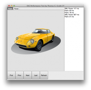 Display of the SVG car using FMX TCanvas operations in the OSX test app