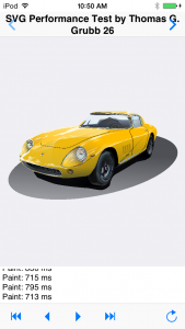 Display of the SVG car using FMX TCanvas operations in the iOS test app