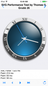 Display of the SVG clock using FMX TCanvas operations in the iOS test app
